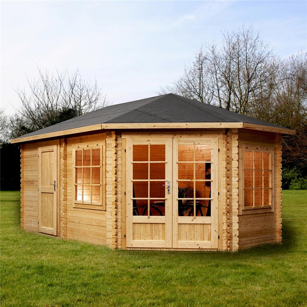 installed 5m x 3m corner log cabin single glazing free. Black Bedroom Furniture Sets. Home Design Ideas