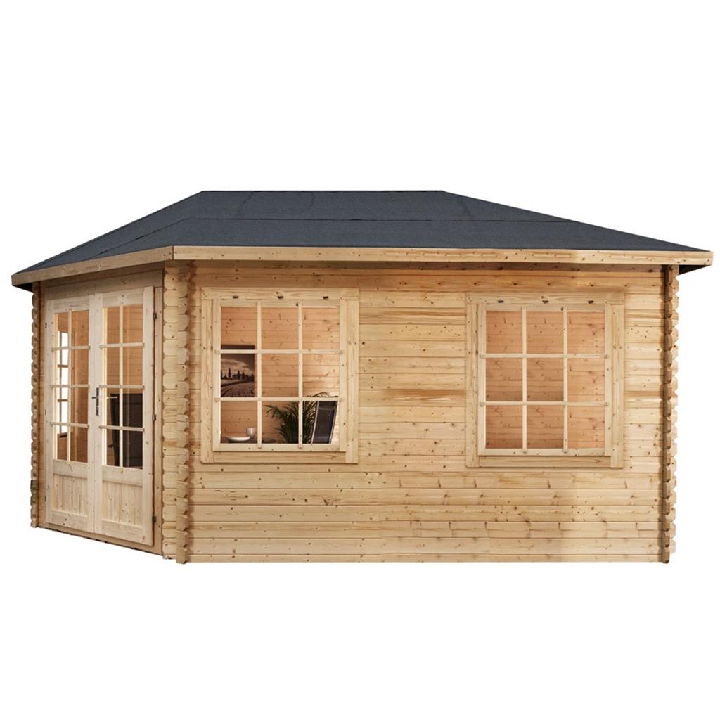 Installed 5m x 3m extended corner log cabin single for Single floor log homes