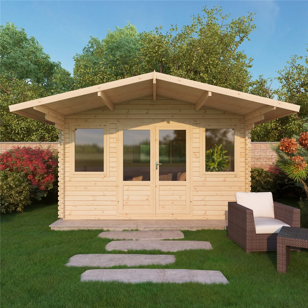 5m x 5m apex log cabin single glazing free floor for Single floor log homes