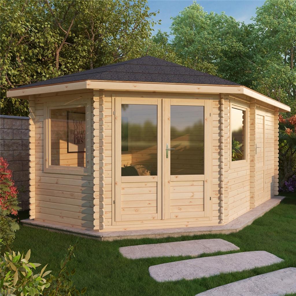 5m x 3m corner log cabin single glazing free floor. Black Bedroom Furniture Sets. Home Design Ideas