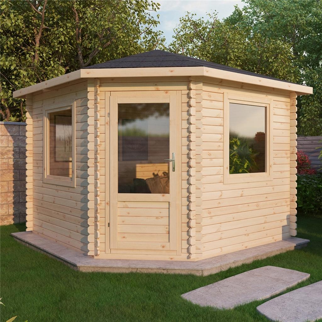 3m x 3m corner log cabin double glazing free floor. Black Bedroom Furniture Sets. Home Design Ideas
