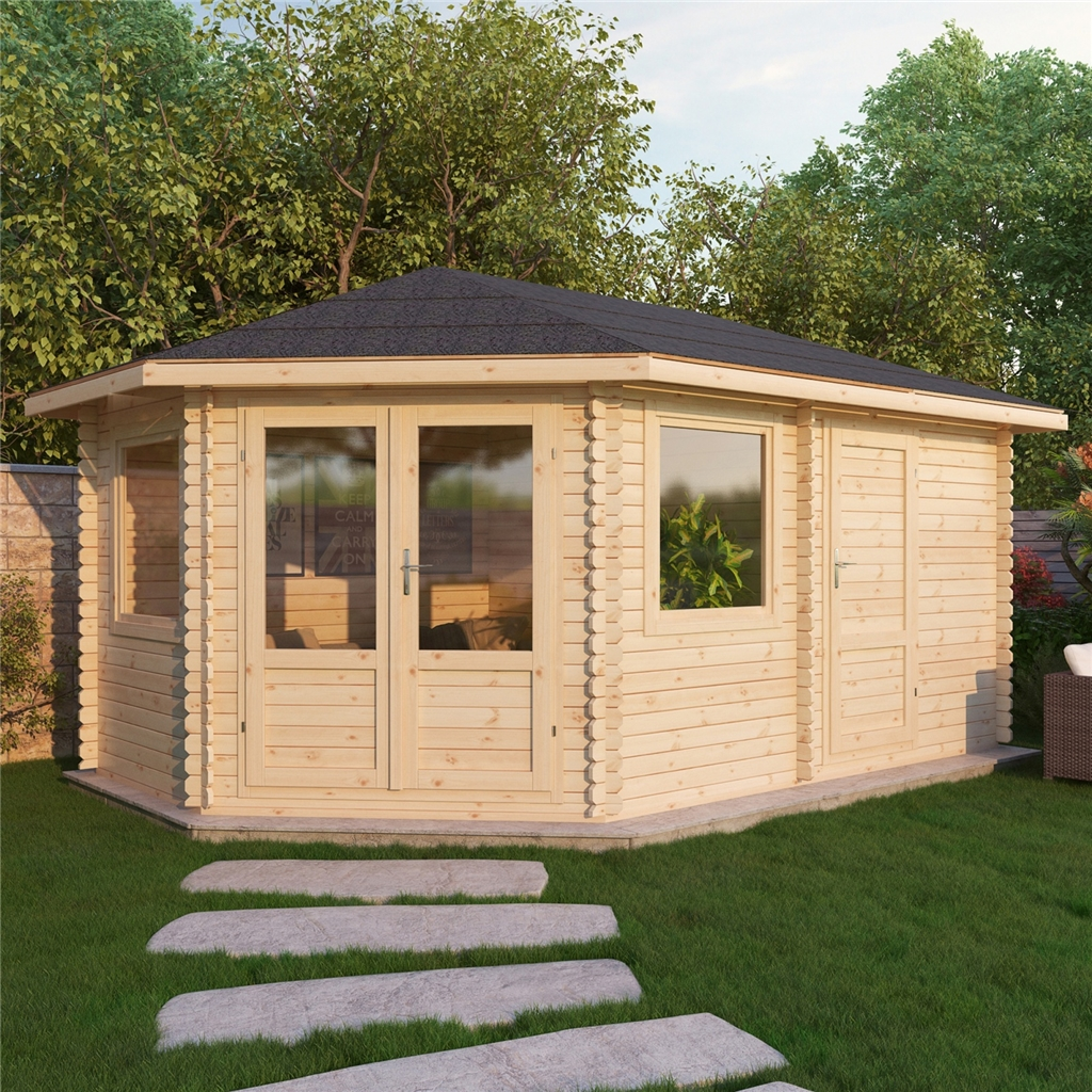 5m X 3m Corner Log Cabin Double Glazing Free Floor