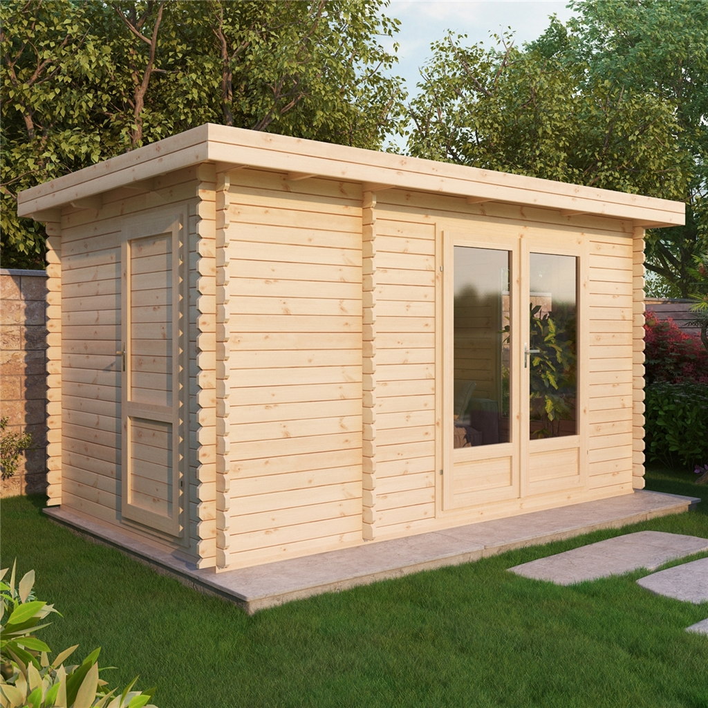 4m x pent log cabin double glazing free floor for Two floor shed