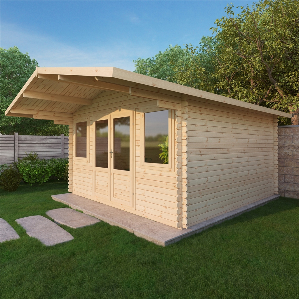 Installed 4m X 4m Apex Log Cabin Single Glazing Free