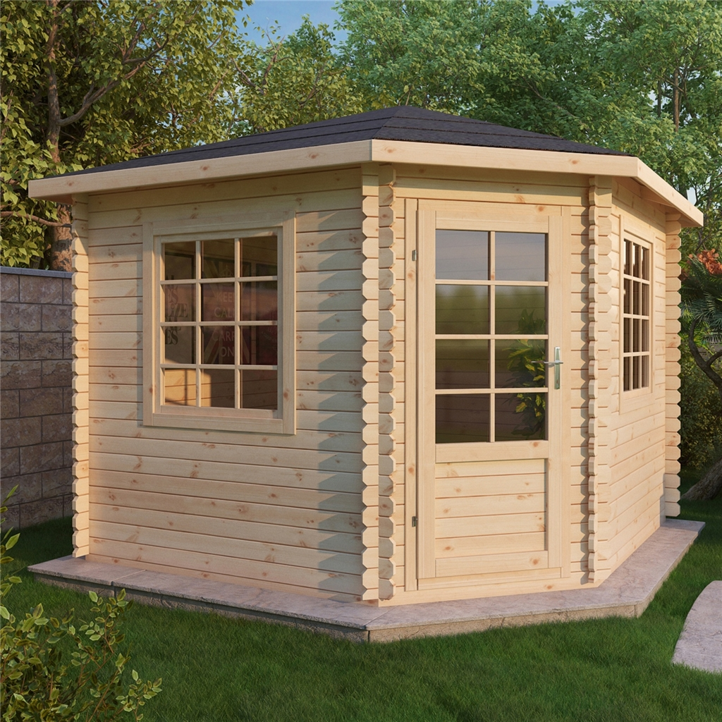 Installed 3m x 3m corner log cabin double glazing free for Free log cabin