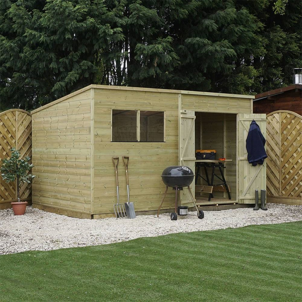 12 X 6 Warwick Shiplap Pressure Treated Pent Shed Shedsfirst
