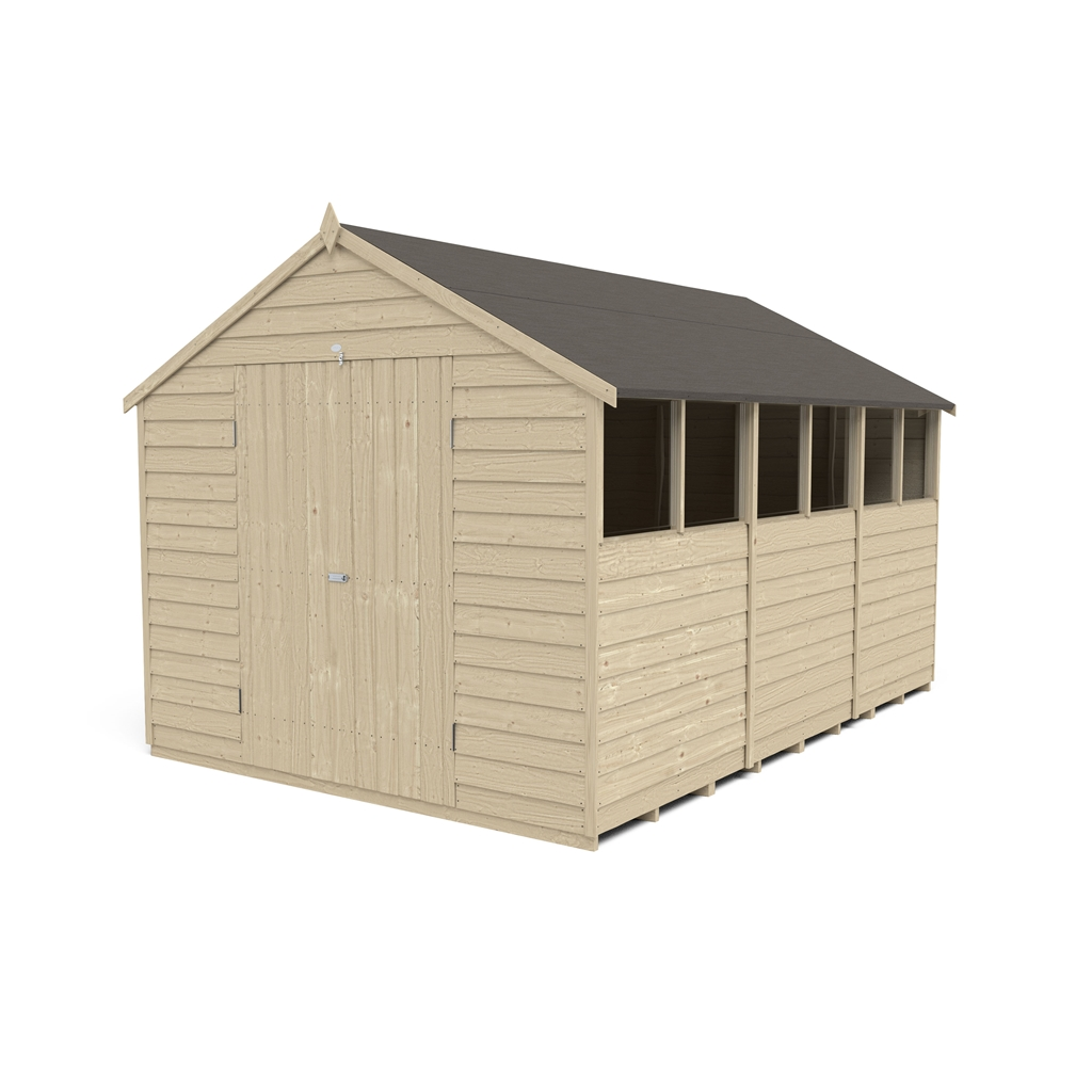 Hasp And Staple >> 12 x 8 (3.7m x 2.6m) Pressure Treated Overlap Apex Shed With Double Doors and 6 Windows | ShedsFirst