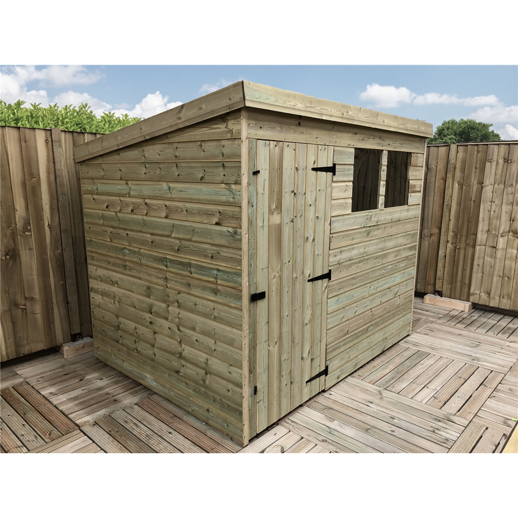 8 X 5 Pressure Treated Tongue And Groove Pent Shed With 2