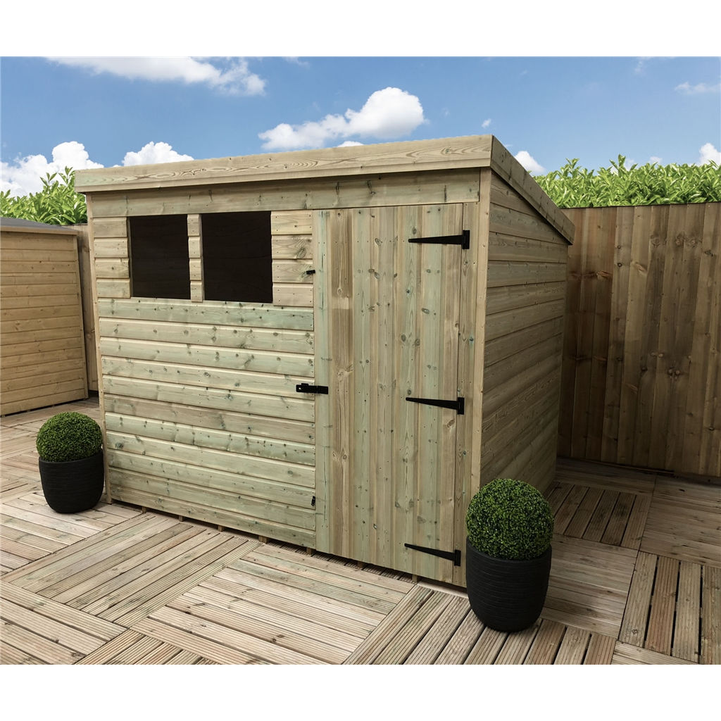 8 X 6 Pressure Treated Tongue And Groove Pent Shed With 2