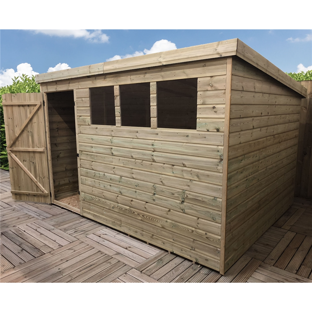 10 X 5 Pressure Treated Tongue And Groove Pent Shed With 3