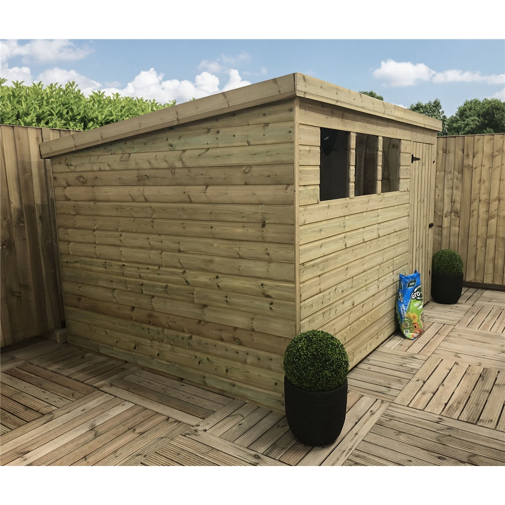 10 X 7 Pressure Treated Tongue And Groove Pent Shed With 3