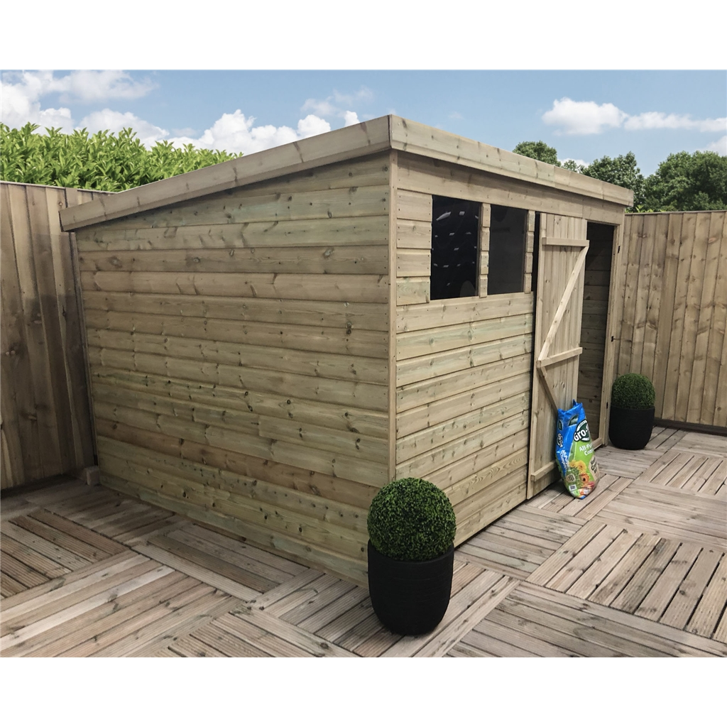 10 X 8 Pressure Treated Tongue And Groove Pent Shed With 3