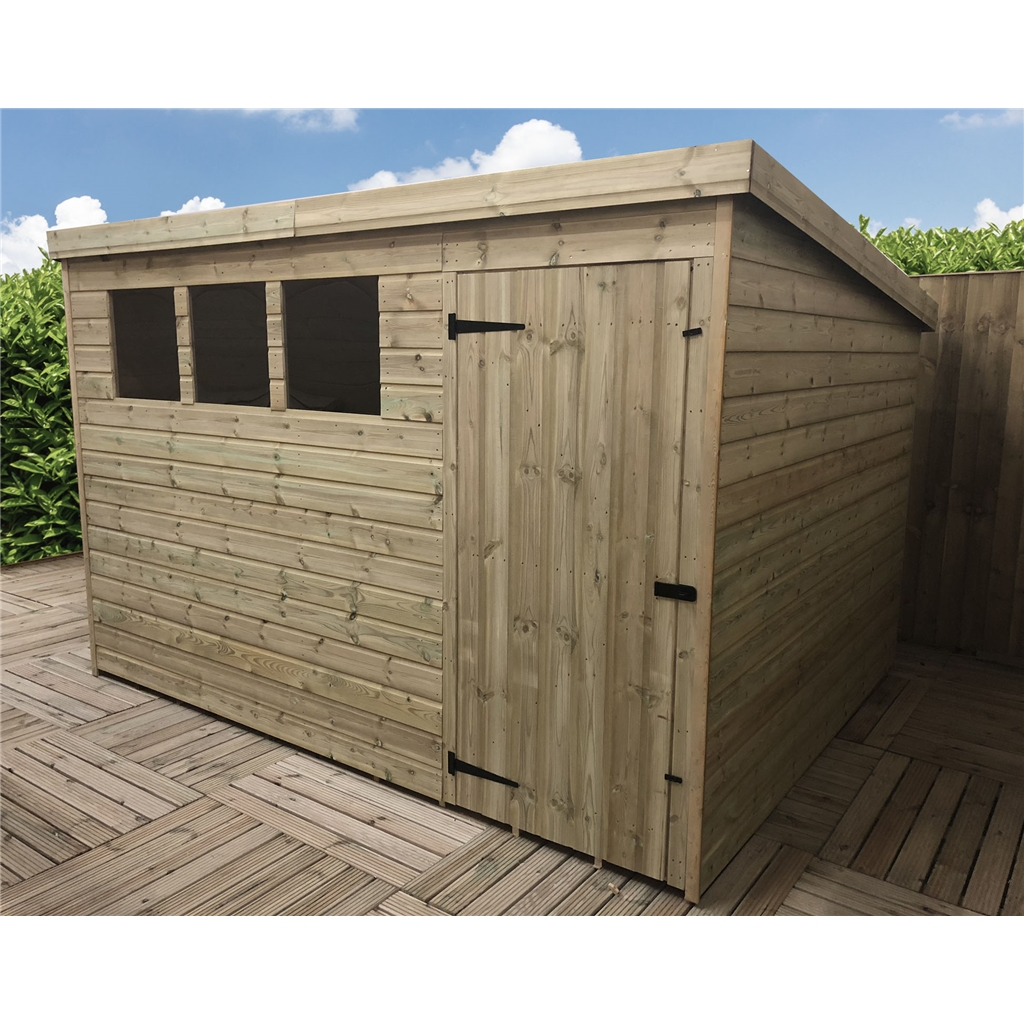 10 X 4 Pressure Treated Tongue And Groove Pent Shed With 3
