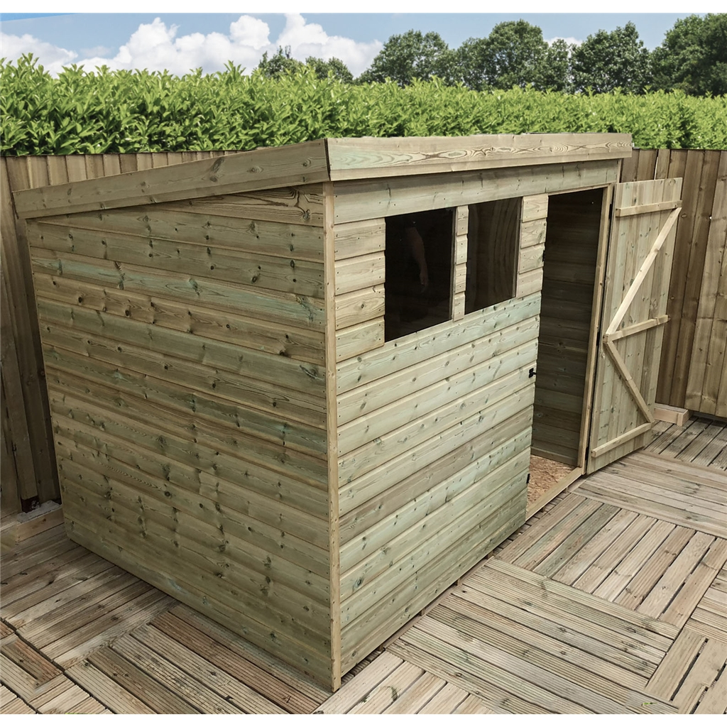 7 X 4 Pressure Treated Tongue And Groove Pent Shed With 2