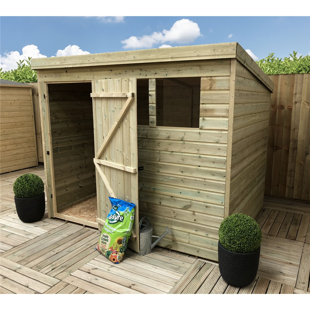 7 X 7 Pressure Treated Tongue And Groove Pent Shed With 2