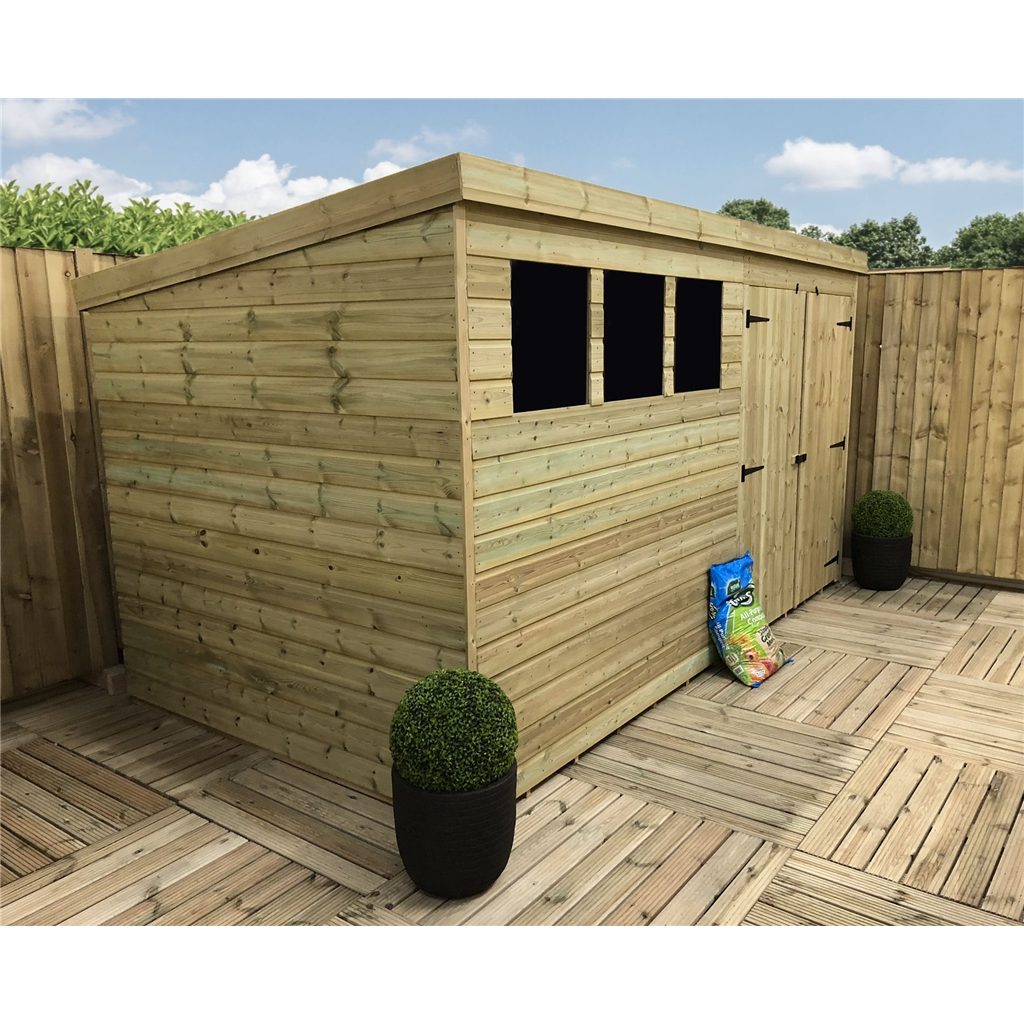 12 X 4 Pressure Treated Tongue And Groove Pent Shed With 3