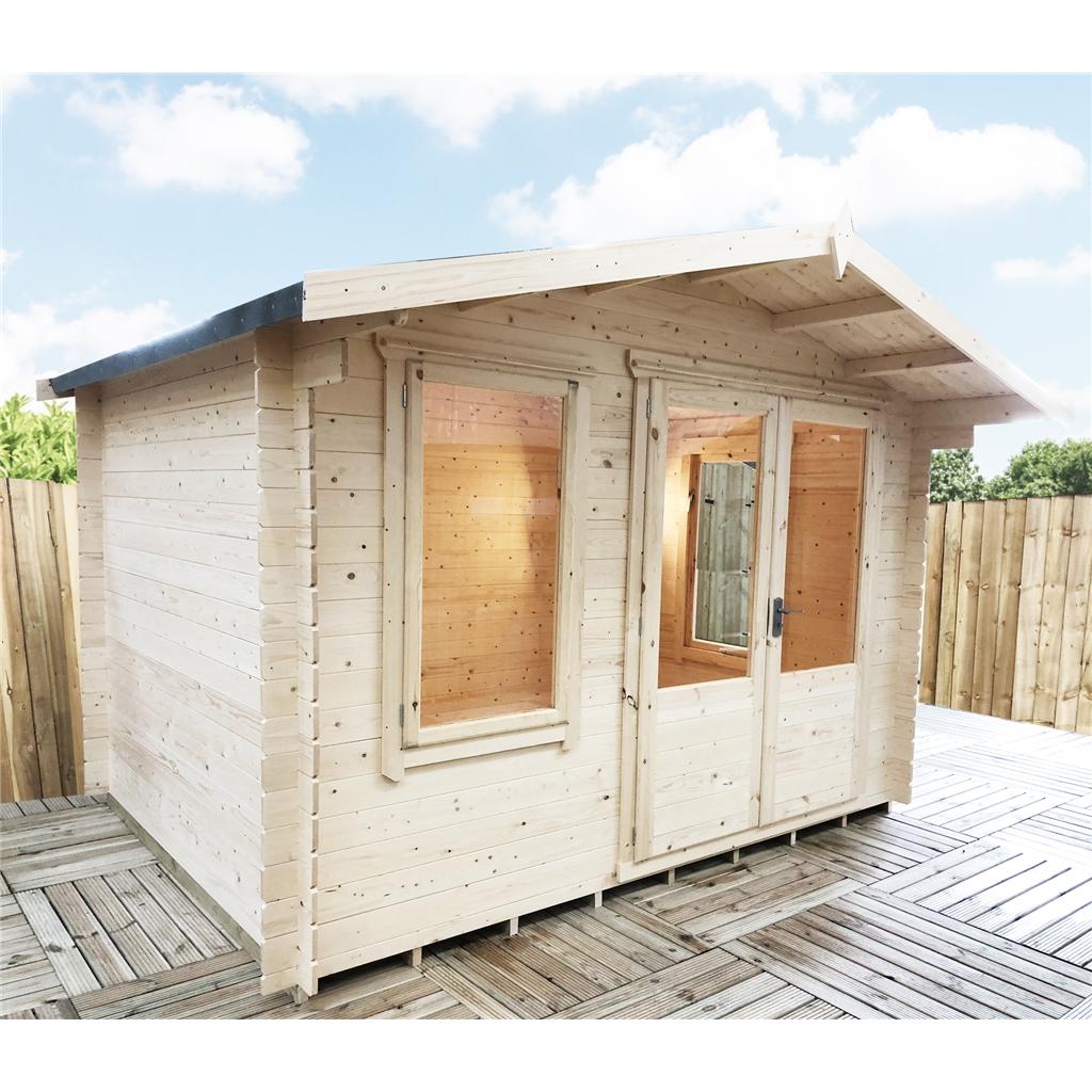 3.3m X 3m Premier Log Cabin With Half Glazed Double Doors
