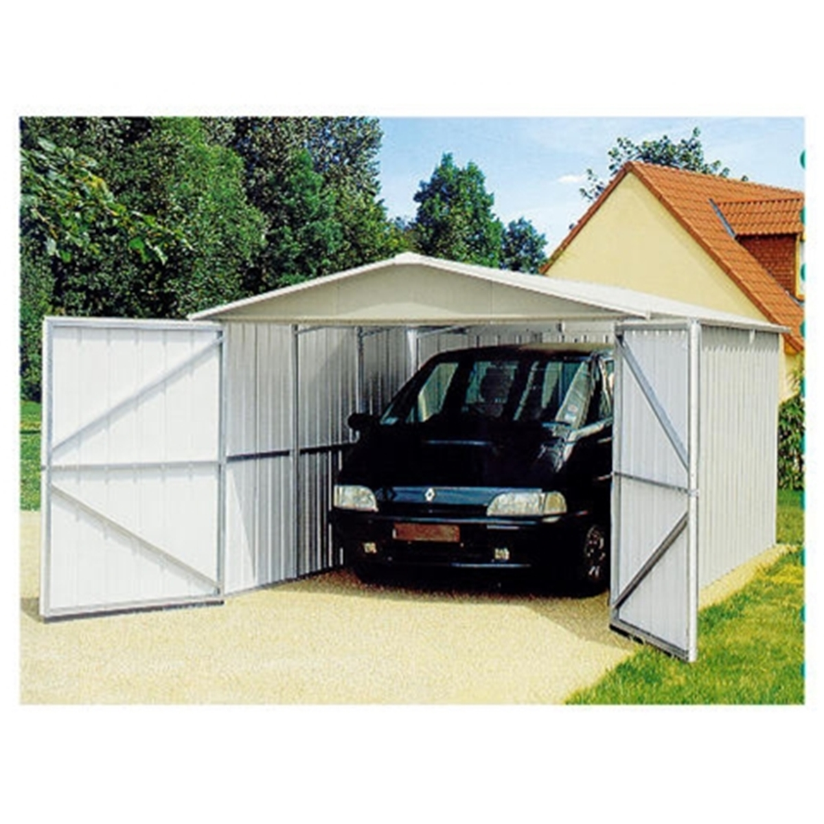 "9ft 1"" X 16ft 4"" Apex Metal Garage + Free Anchor Kit (2.8m"