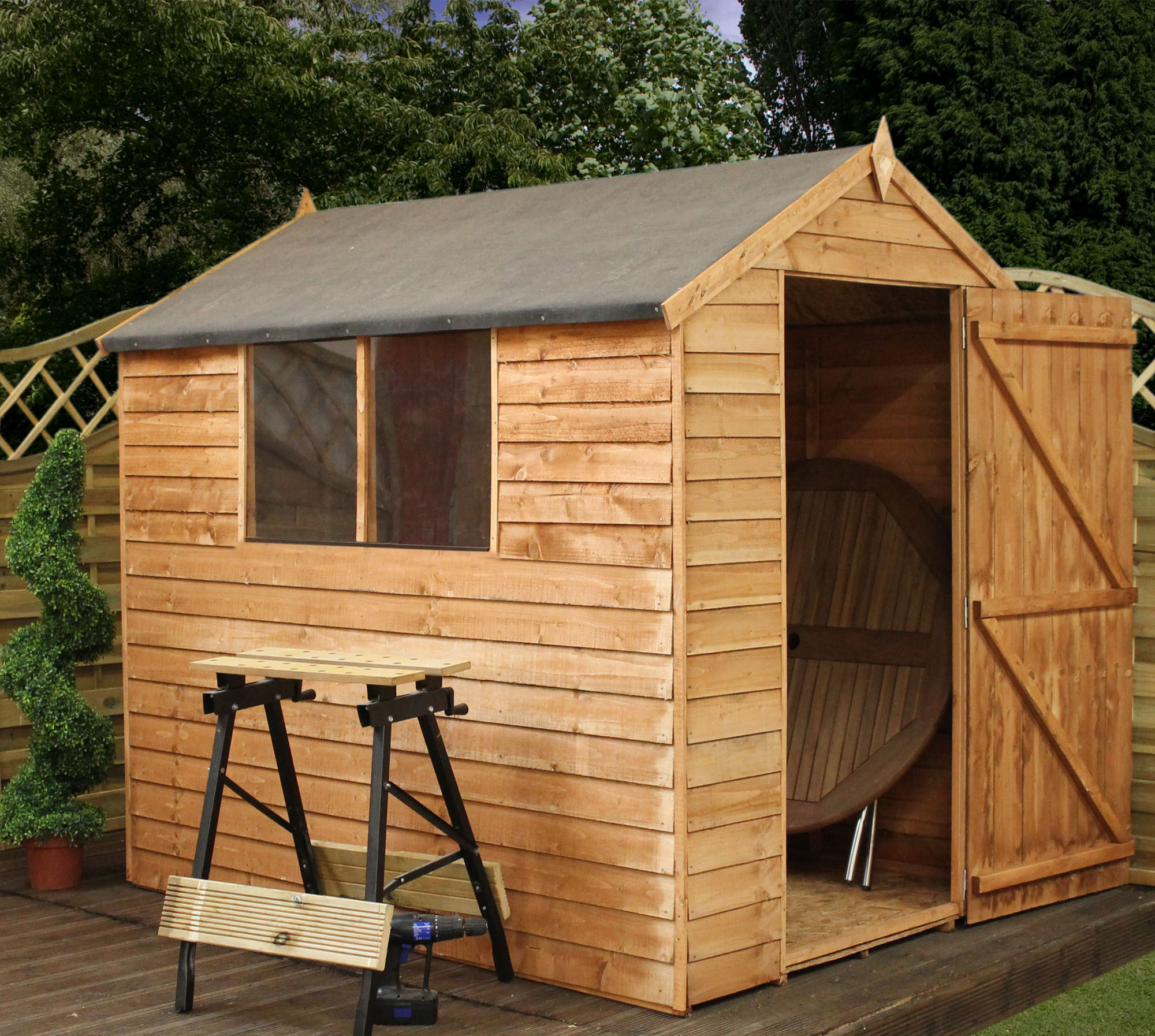 7 X 5 Overlap Apex Shed With Single Door 2 Windows 10mm