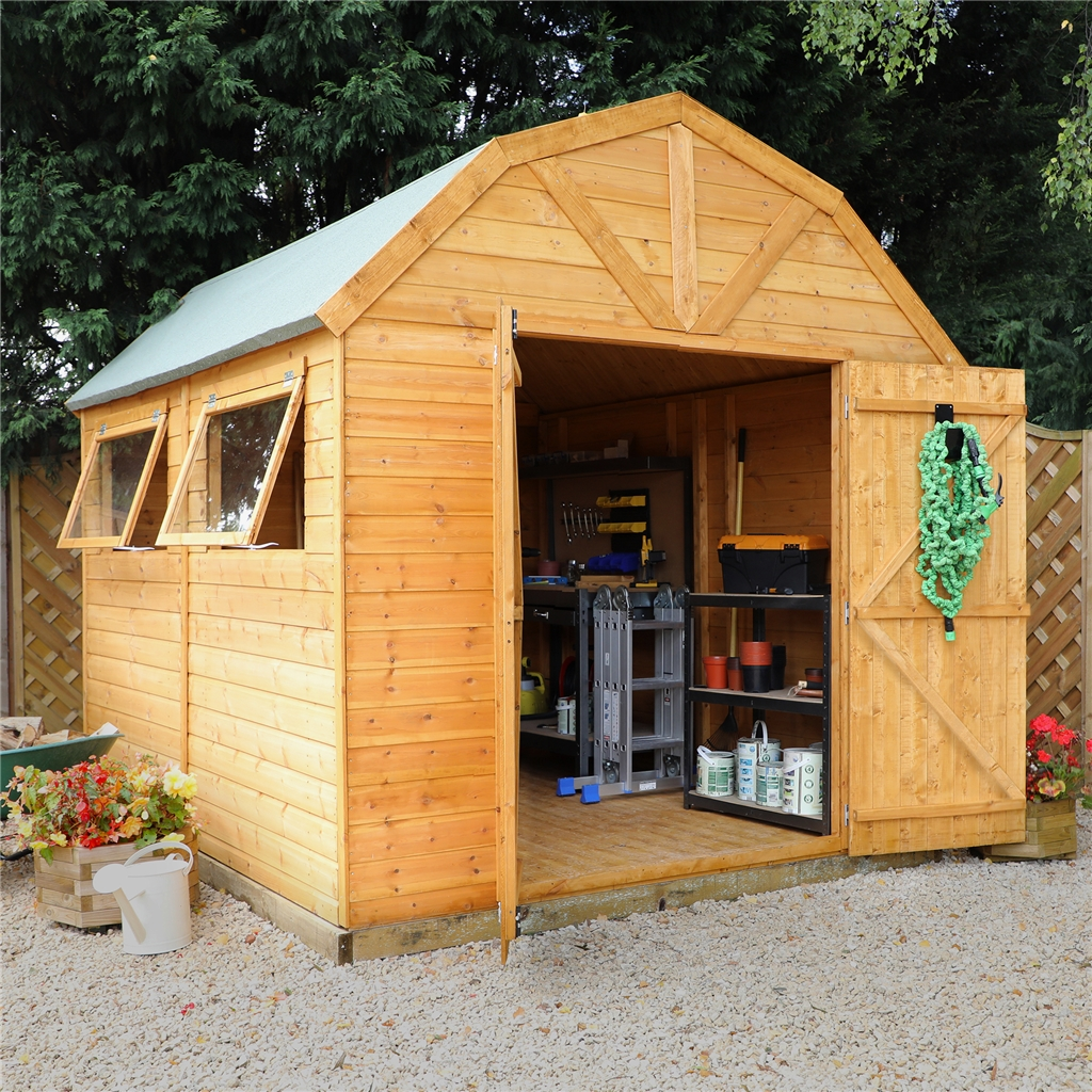 10 x 8 deluxe tongue and groove dutch barn with double for Two floor shed