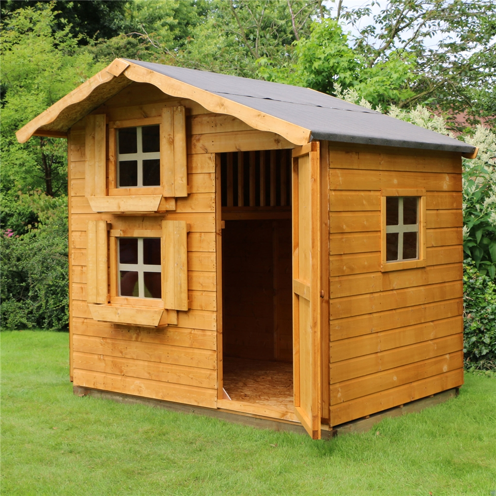 7 x 5 wooden cottage playhouse double storey shedsfirst for Playhouse sheds
