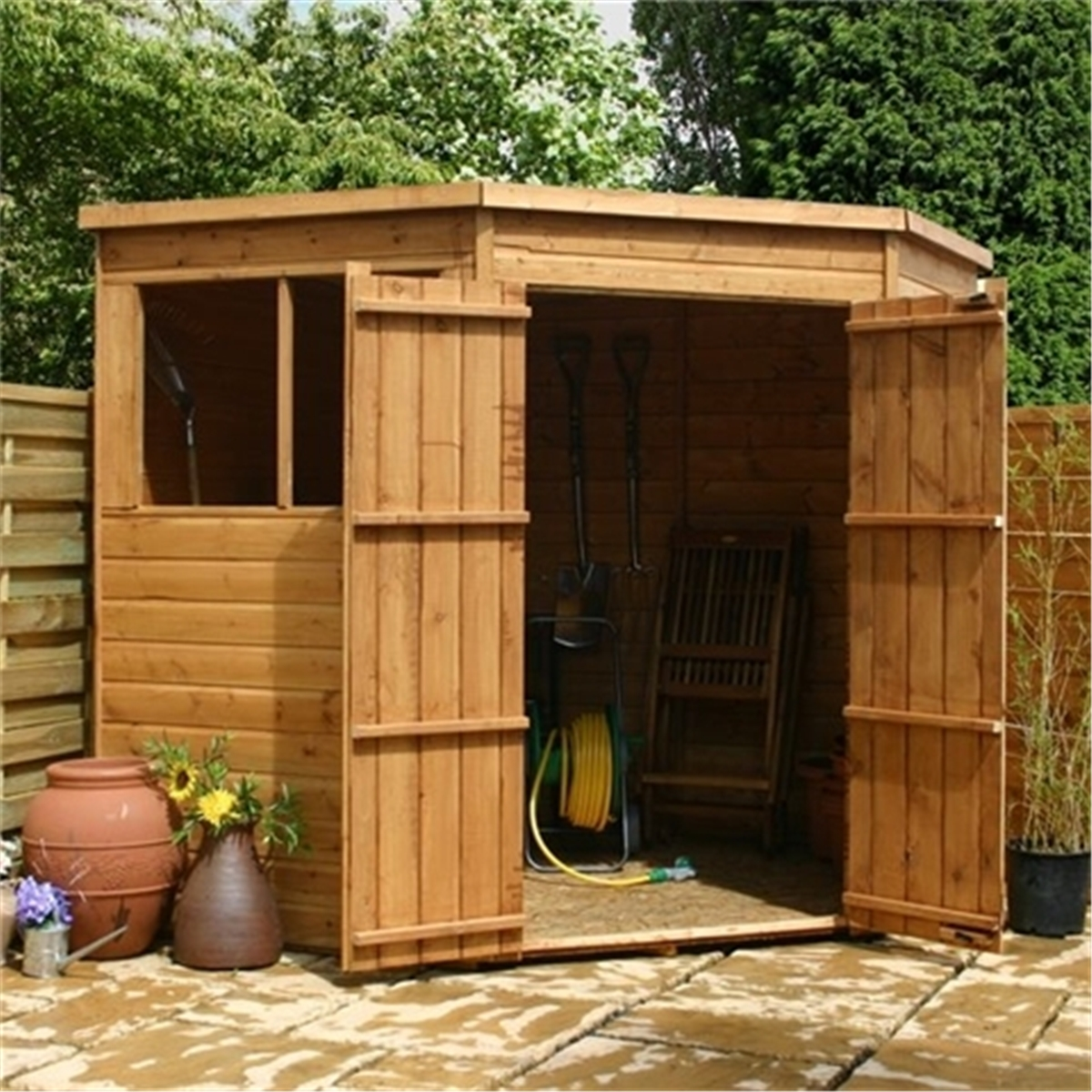 product detail more info 7 x 7 tongue and groove corner shed with double doors 2 windows 10mm
