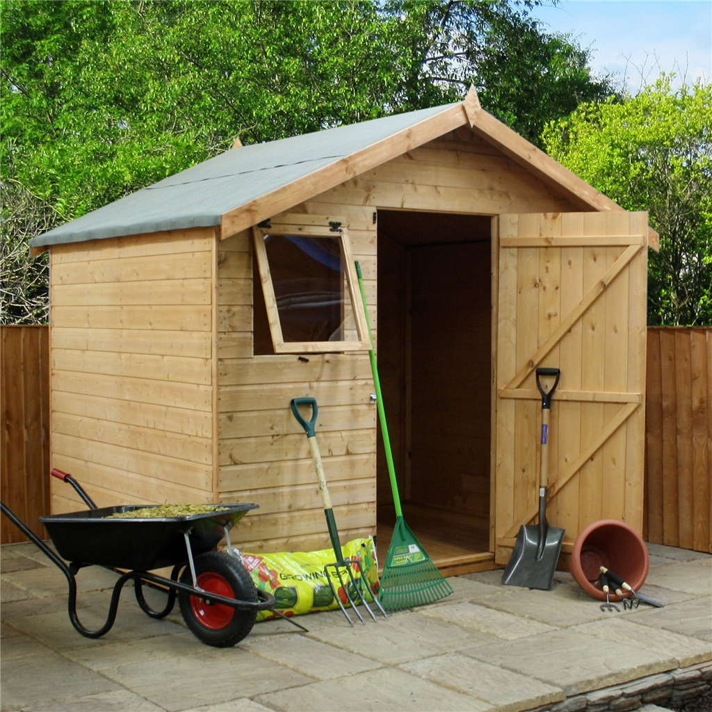 6 x 8 reverse premier tongue and groove apex shed with for Apex garden sheds
