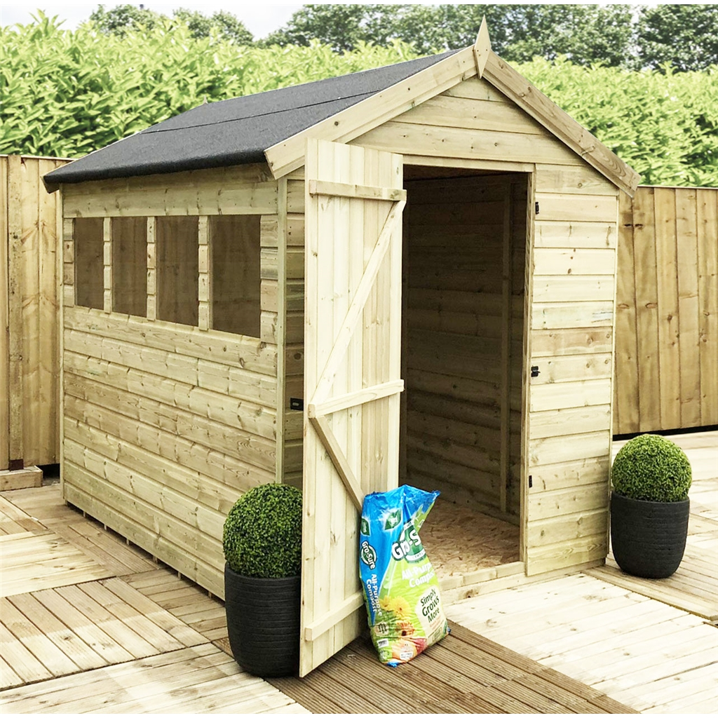 8 X 6 Premier Pressure Treated Tongue And Groove Apex Shed
