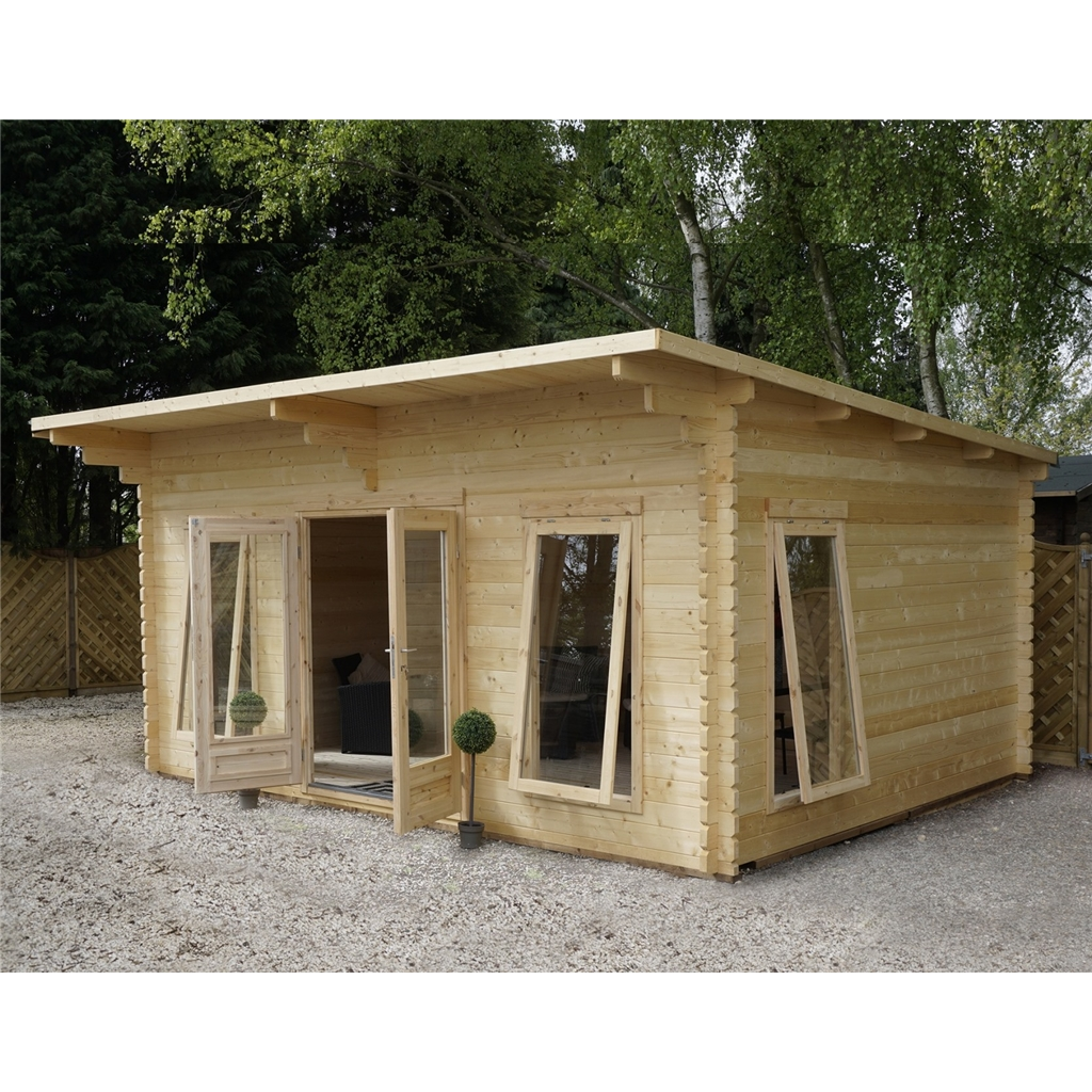 4m X Modern Log Cabin Single Glazing Free Floor