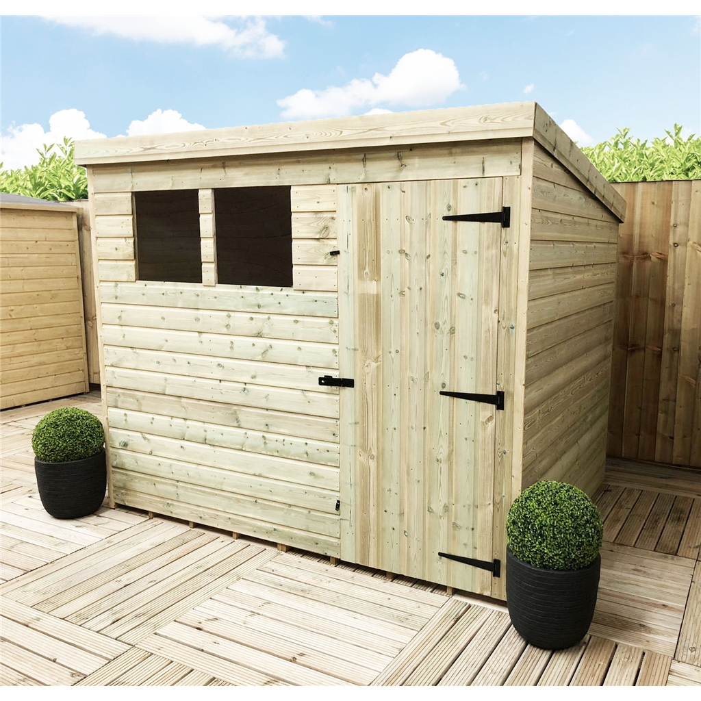 7 X 3 Pressure Treated Tongue And Groove Pent Shed With 2