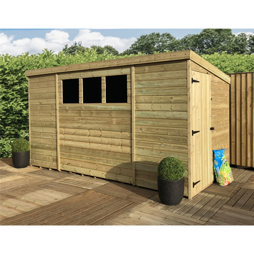 12 X 8 Pressure Treated Tongue And Groove Pent Shed With 3