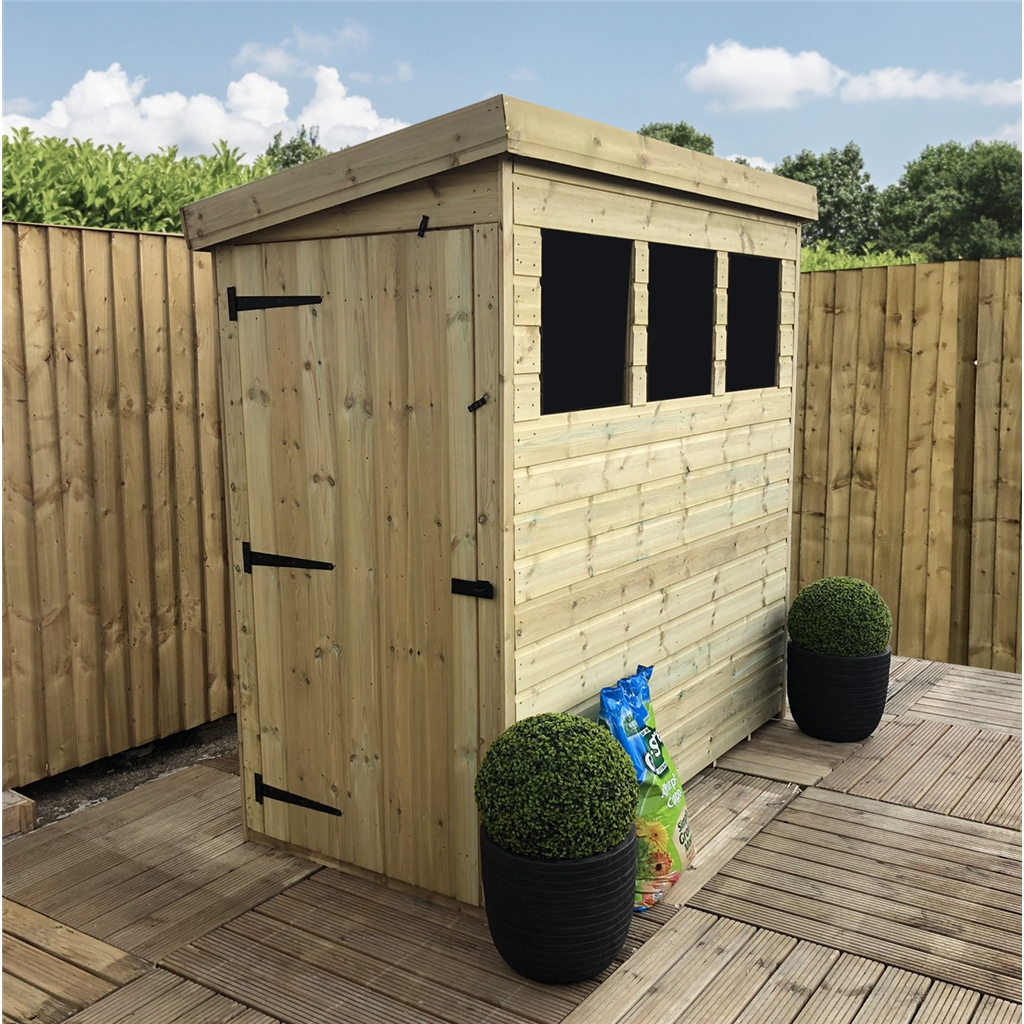 6 X 3 Pressure Treated Tongue And Groove Pent Shed With 3