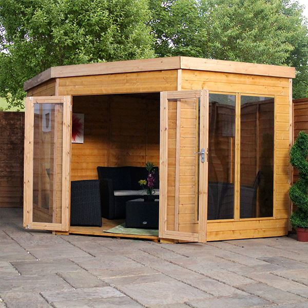 X Solis Corner Summerhouse Tongue And Groove Floor And Roof - Corner summer house