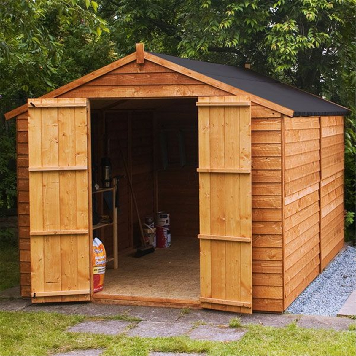 INSTALLED 10 X 8 Windowless Overlap Apex Shed With Double