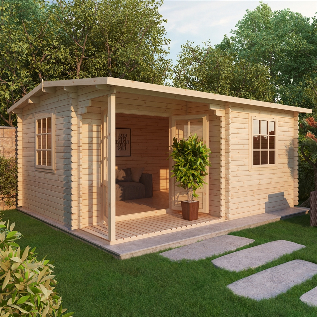 Installed 5m X 4m Reverse Apex Log Cabin Single Glazing