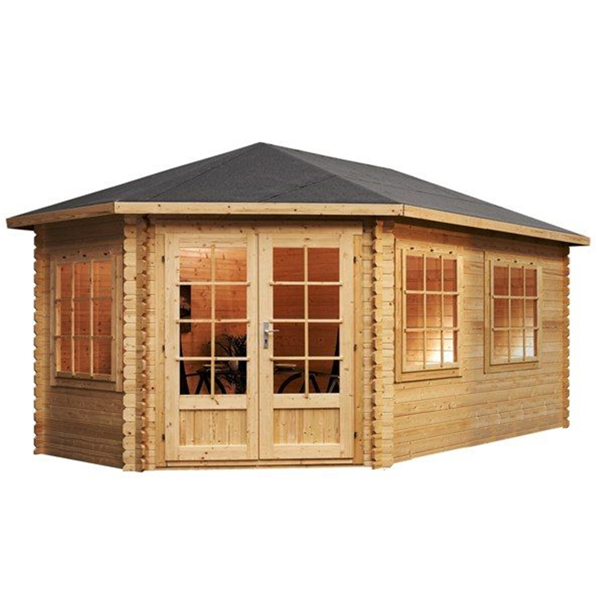 Installed 5m x 3m extended corner log cabin double for Free log cabin