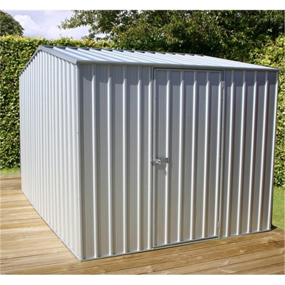 installed 8 x 10 premier zinc metal shed x 3m. Black Bedroom Furniture Sets. Home Design Ideas