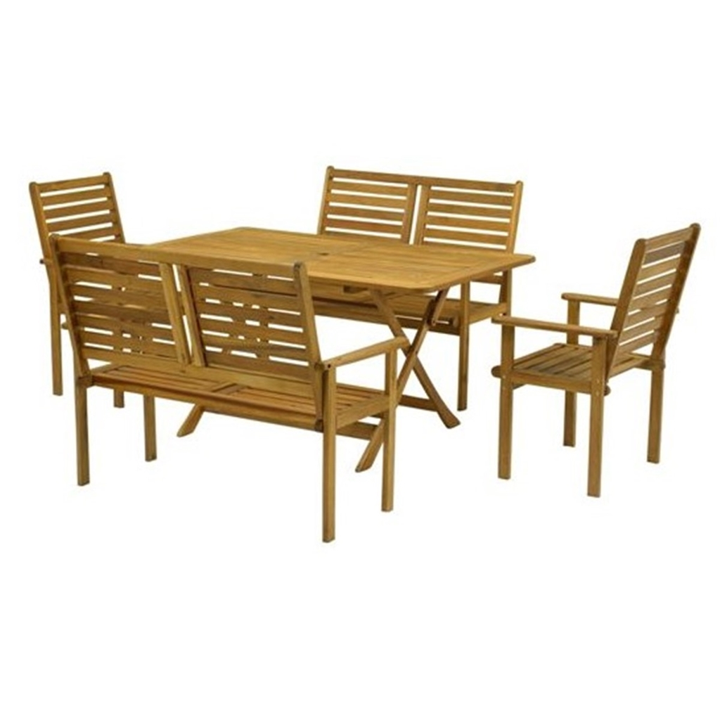 6 Seater 5 Piece Napoli Bench Dining Set With Napoli