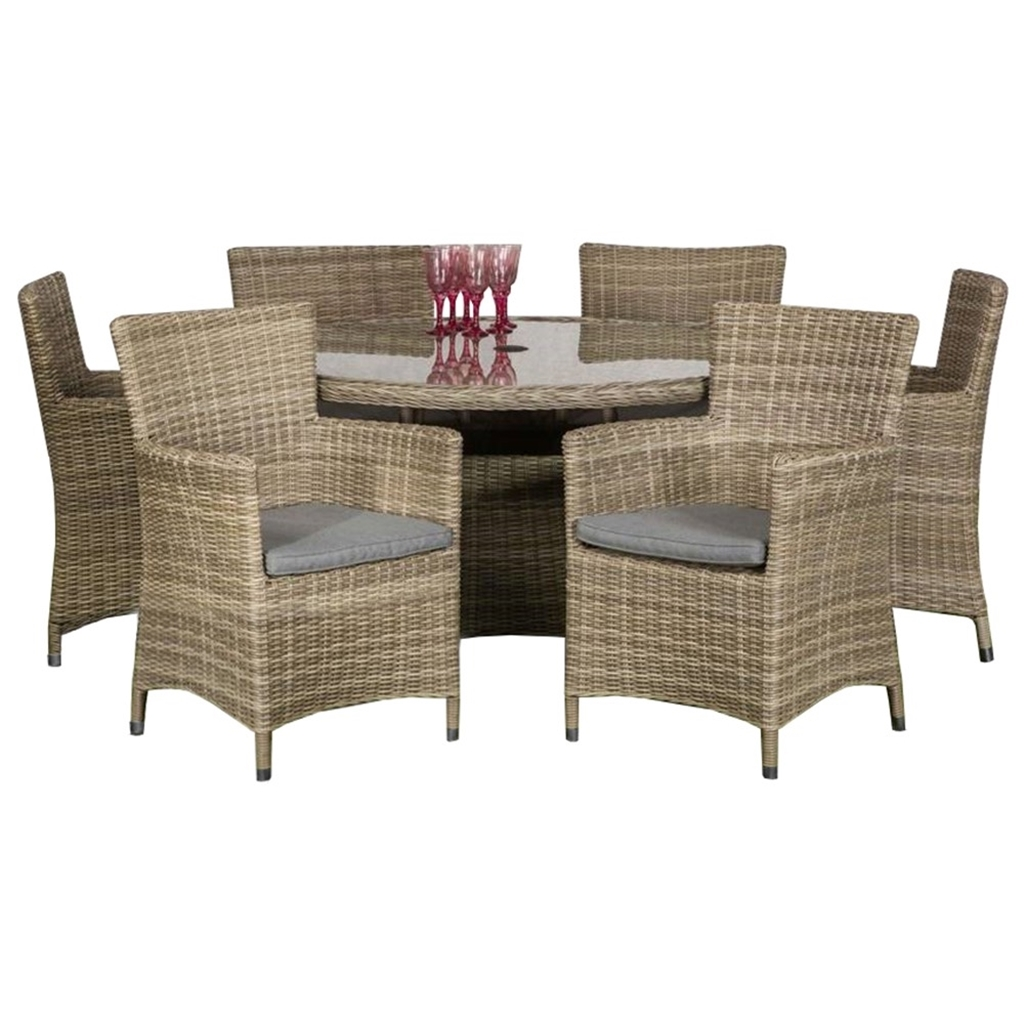 6 Seater 7 Piece Wentworth Round Carver Dining Set