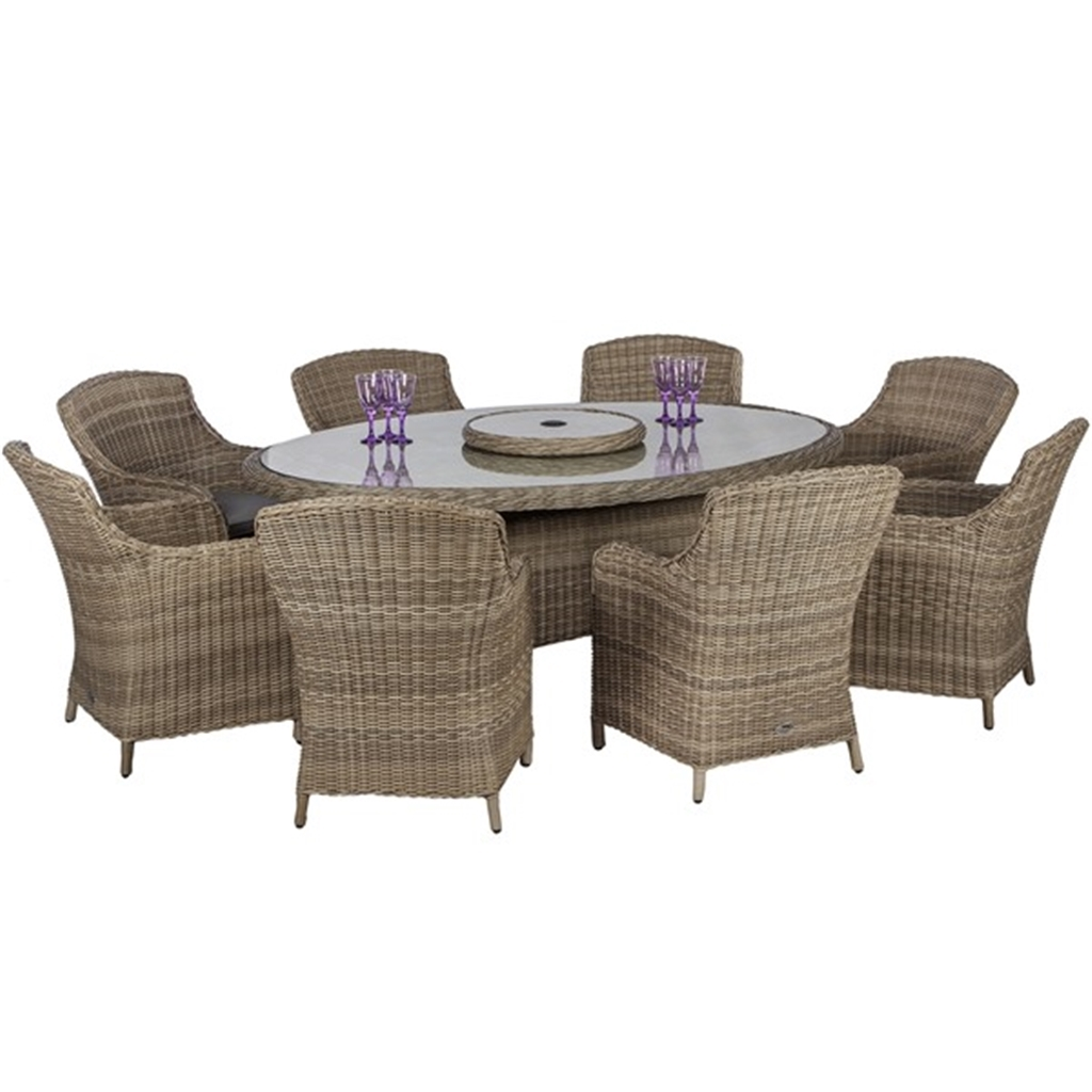 8 Seater Round Garden Dining Table And Chairs Set: Wentworth Dining Set