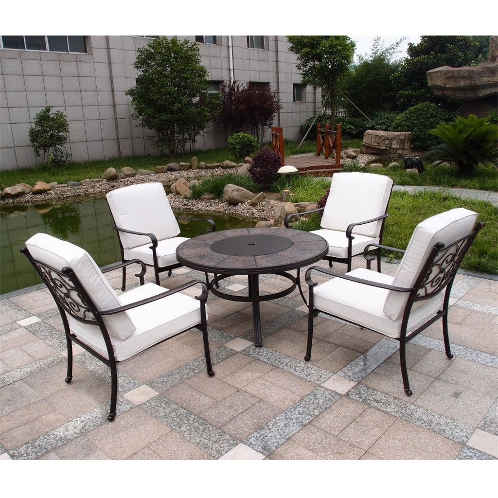 10 Seater - 10 Piece -Versailles Firepit Set - 10cm Firepit Table With 10  Lowback Stacking Chairs Incl. Cushions - Free Next Working Day Delivery